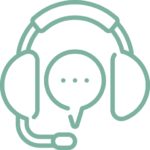 Illustration of a pair of headphones with an attached mic and a word bubble between the two headphones